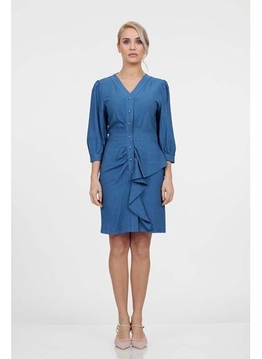 Vitrin Önden Düğmeli Volan Detaylı Elbise İndigo
